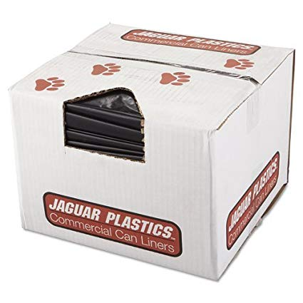 Jaguar R3858HH Repro Low-Density Can Liners, 2 Mil, 38 x 58, Black, 10 Bags/Roll, 10 Rolls/CT