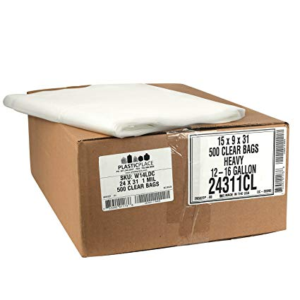 Plasticplace Clear Garbage Bags, 24x31, 14 Gallons, 500/Case, 1 Mil