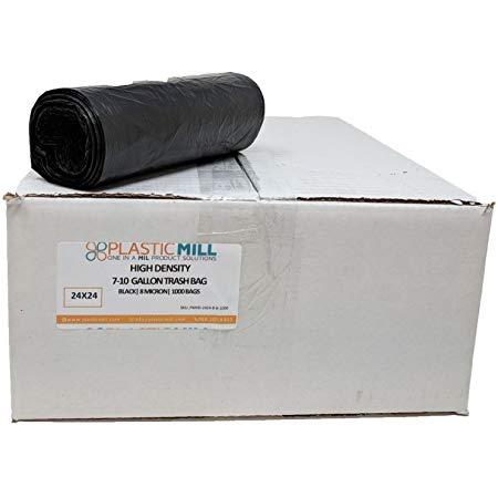PlasticMill 7-10 Gallon, Black, High Density, 8 Micron, 24x24, 1000 Bags/Case, Garbage Bags/Trash Can Liners.