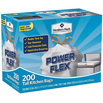Member's Mark Power Flex Tall Kitchen Simple Fit Drawstring Bags 2Pack (13 GAL)