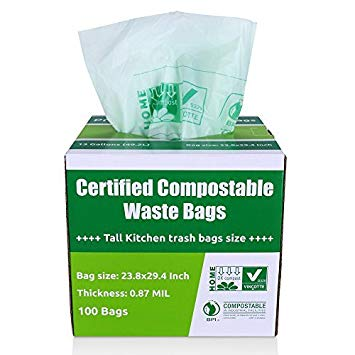 Primode 100% Compostable Bags, 13 Gallon Food Scraps Yard Waste Bags, Extra Thick 0.87 Mil....