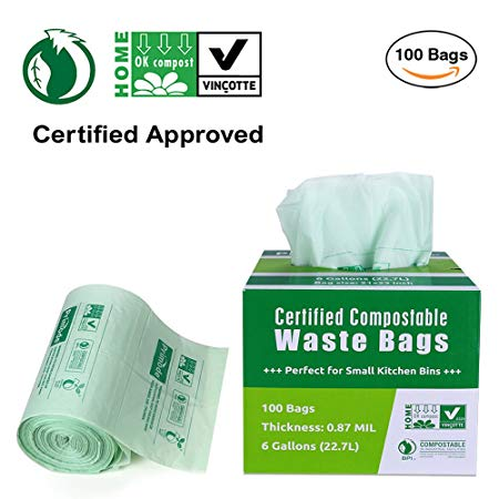 Primode 100% Compostable Bags, 6 Gallon Food Scraps Yard Waste Bags, Extra Thick 0.87 Mil. ASTMD6400 Biodegradable Compost Bags Small Kitchen Trash Bags, Certified By BPI And VINCETTE, (100)