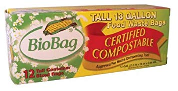 BioBag Tall Kitchen Compostable Bags (13 Gallon), 12-Count Boxes (Pack of 4)