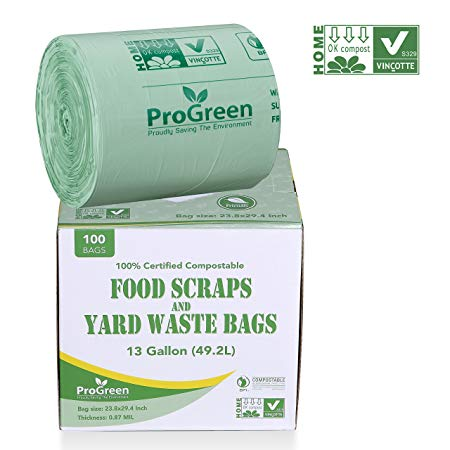 ProGreen 100% Compostable Bags 13 Gallon, Extra Thick 0.87 Mil, 100 Count, Small Kitchen Trash Bags, Food Scraps Yard Waste Bags, Biodegradable ASTM D6400 BPI And VINCOTTE Certified