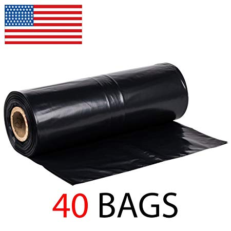 42 Gallon Extra Heavy Duty Contractor Garbage Bags Roll, 3MIL Thick, 40 Bags on Roll, Puncture-Resistant, MADE IN USA, 37 X 43