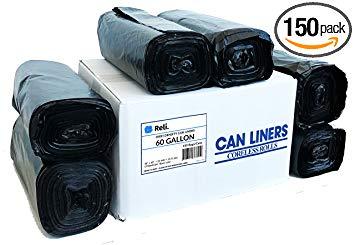 Reli. Easy Grab Trash Bags, 55-60 Gallon (150 count) - Star Seal Super High Density Rolls (Heavy Duty Can...
